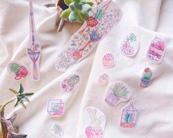 Succulents Sticker Flakes | Cactus and Succulent Garden Watercolor Stickers, Hand-Drawn Sticker Art, Cute Nature & Plants DIY Stickers