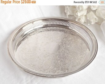ON SALE Silver Plated Vanity Tray, French Farmhouse, Boudoir Decor, Wedding Decor, Serving Tray, Shabby Chic Vanity Tray, Cottage Chic