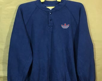 80s Vintage Adidas Trefoil Snap Button Sweatshirt Navy Blue Color Chest 27""