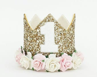 Readystock -  Baby Girl Birthday Crown || Gold Birthday Crown || First Birthday Crown || 1st Birthday Crown || Pink Birthday Crown  || cream