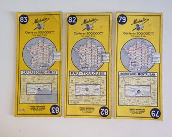 French Maps, Vintage Map, Michelin Map, Michelin Tyres, Old Maps, Map of France.