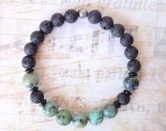 Mens Beaded Bracelet, Stretch Bracelet, Hipster Bracelet, Turquoise Bracelet, Black Lava Stone, Ealstic Bracelet, Bohemian Bracelet, Boho