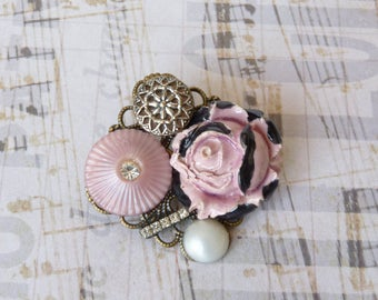 Vintage Brooch, Retro Shabby Chic, Flower Brooch, Plastic Button, Ceramic Flower Cabochon, Wedding Jewelry, Coworker Gift Idea, Handmade