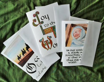 Assorted Watercolor and Calligraphy Christmas Greeting Card – Set of Three 5x7 Cards – Benefiting Compassion International