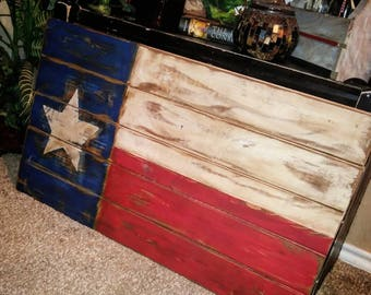 Country Shabby Chic Rustic Texas Flag