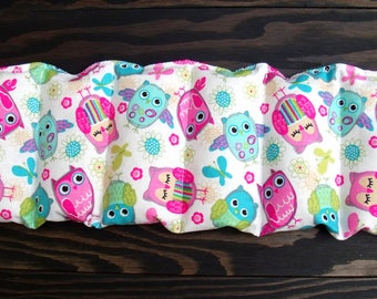 Rice heating pad/ multi color owl print  / rice bag / pain relief/  heat and cold therapy pack / relaxation  / microwavable