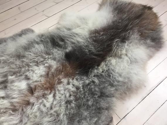 Sheepskin rug supersoft rugged throw from Norwegian norse breed medium locke length sheep skin grey brown 18022