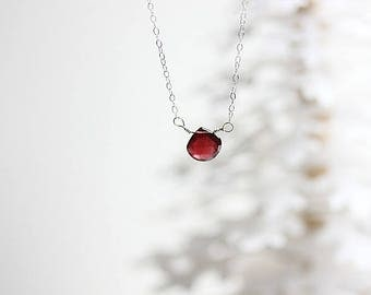 Red Mozambique Garnet Necklace - January Birthstone Necklace - Red Gemstone Necklace - Sterling Silver Chain - Garnet Jewelry - Gift for Her