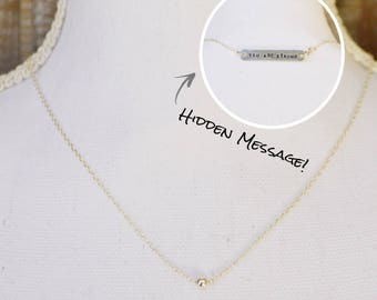 Strength necklace, stamped necklace, secret message necklace, womens necklace, gift for her, strong necklace, silver necklace, custom