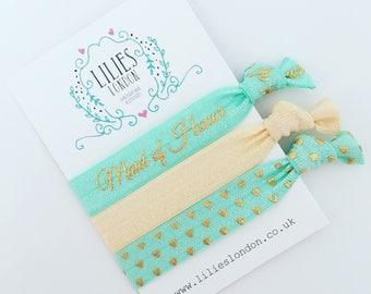 Maid of honor gift, elasticated bracelet, bachelorette gift, aqua ponytail holder, wedding hair ties, stretch bracelets, pretty hair ribbons