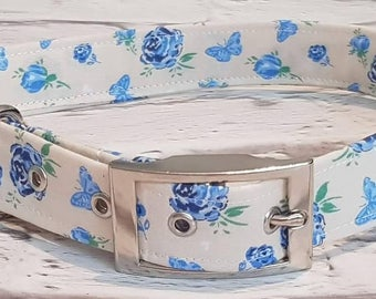 Handmade cream/blue rose/butterfly dog collar with silver metal buckle