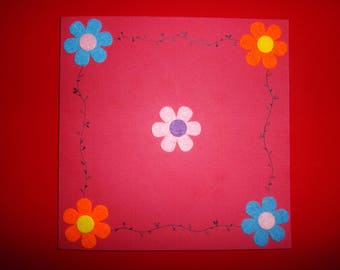 dual color red square with felt flowers