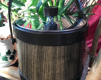 Mid-century modern ice bucket with faux wood grain and chrome lid - free shipping