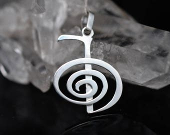 Cho-Ku-Rei Sterling Silver. 925 Reiki Pendant. meaningful gift. Symbolic jewelry, Chain necklace. for men and for women