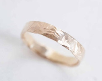 4 x 1.5 mm Hammered Organic Band | Reverse Comfort Fit | Men's Wedding Ring | 14k Recycled Gold