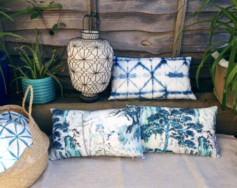 "Outdoor cushion cover in Designers Guild fabric Seraya Amlapura blue white shibori water resistant throw pillow batik 50 x 30cm 12 x 20"""