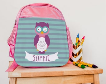 Children's Mini Backpack - Personalised Owl Backpack - Mini Children's Rucksack