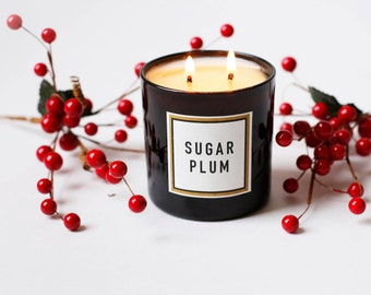 Sugar Plum Double-Wick Holiday Soy Candle - in Black Glass and Gold Foil Stamped Box (Ships 10/21/16)