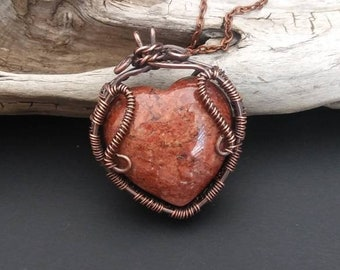 Brecciated Red Jasper Heart Necklace - Red Jasper Pendant, Gifts for her