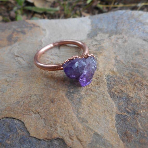 Gorgeous Raw Amethyst Copper Electroformed Ring- Amethyst Ring- Rough Amethyst Ring