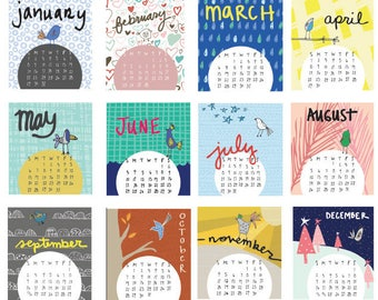 Mini 2018 Desk Calendar - CARDS ONLY -Monthly Calendar - 2018 color Calendar - 2018 Desk Calendar - Bird Pattern Calendar
