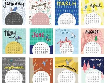 Mini 2018 Desk Calendar with display case - CARDS ONLY -Monthly Calendar - 2018 color Calendar - 2018 Desk Calendar - Bird Pattern Calendar