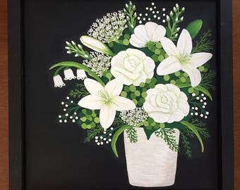 White Bouquet, White Flower Art, Black and White Art, Canvas Art, Canvas Painting, Painting of Flowers, White Flower Painting, Painting