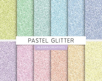 Pastel Glitter digital paper, soft colors, seamless glitter textures, rainbow colors, scrapbook papers (Instant Download)