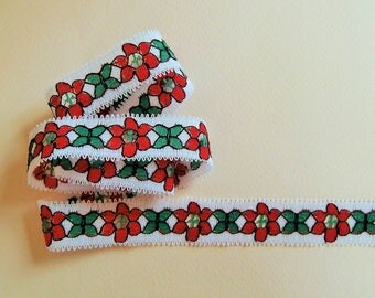 White, red and green floral stripe (ref 842 29 94)