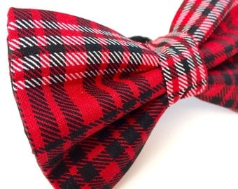 Red Tartan Plaid Bow Tie for Dogs