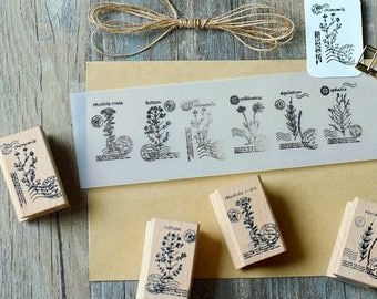 Plants Stamp Set, Herbs Stamps, Garden Stamps, Vintage Wooden Rubber Stamps, Diary Stamp Set