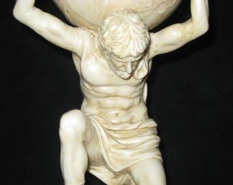 Greek Atlas Statue/Vintage Resin Atlas Statue/Mythical Greek God Earth Sky World on Shoulders/Greek Mythology Titan/Weight of the World
