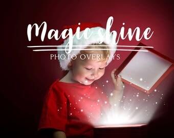 27 Magic shine box overlays, PNG overlays, Christmas overlays, Holiday overlays, photoshop overlays