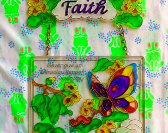 Vintage 1970s FAITH + MIRACLES Happen Everyday faux Stained Glass Window Art