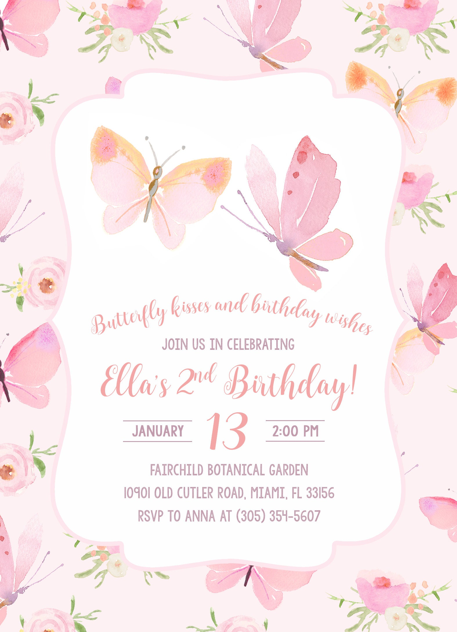 Butterfly First Birthday Wording