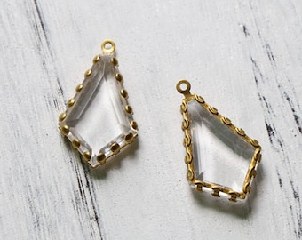 1 Loop Brass Channel set Faceted Clear Acrylic Charms (2pc)