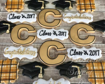 2 doz Graduation Cookies - Elementary, High School or College