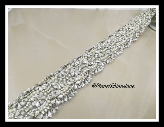 1 Thick Yard-Rhinestone Bridal Iron-0n Trim (Swarovski Shine) #I-17