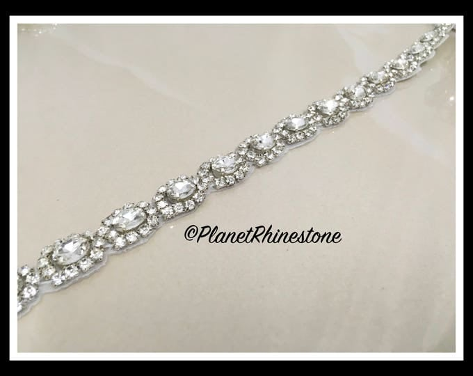 1 Yard Iron-on Embellished Rhinestone Pearl Bridal Trim #I-11
