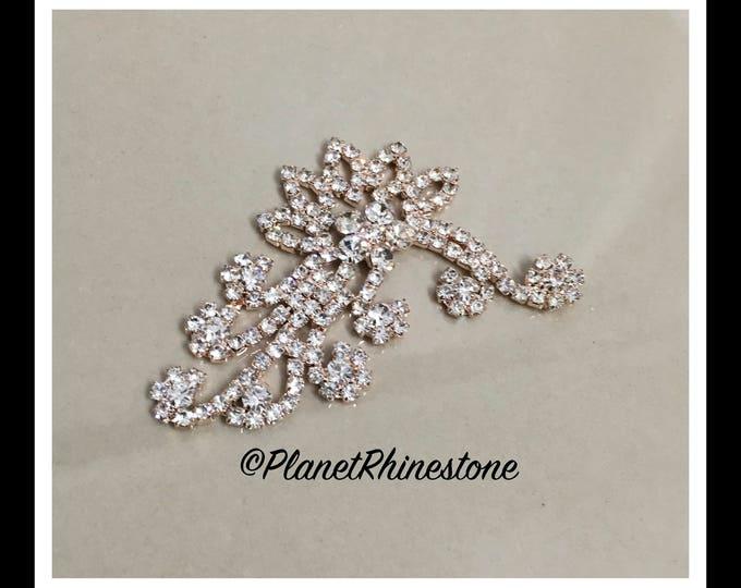 Rose Gold Rhinestone Flower Branch #AF-6