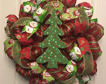 Christmas Wreath, Christmas Decor, Deco Mesh Wreath, Green and Red Wreath, Christmas Tree