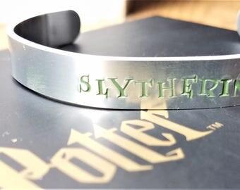"""Hand Stamped """"Slytherin"""" Harry Potter Inspired Bracelet"""