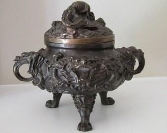 Vintage Chinese Bronze Tri Footed Dragon Censer Incense Burner