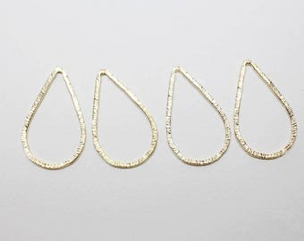 P0651-2/Anti-Tarnished Matte Gold Plating Over Pewter/Angled Teardrop Pendant Connector Large/20x33mm/4pcs