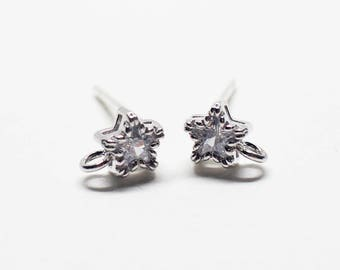 E0207/Anti-Tarnished Rhodium Plating Over Brass + Sterling Silver Post/Tiny Star Cubic Stud Earrings/4.95x6.5mm(include ring)/2pcs