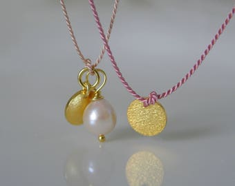Silk chain with a gold platelets coin Akoya pearl necklace made of cord with a gold plate coin Akoya Pearl Japan Salt Water