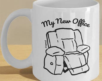 Office Employee Retirement Mug Gifts // Funny Man, Woman, Employee Retired Coffee Cup // Recliner Chair Illustration