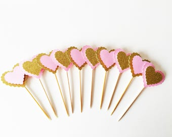 Heart Cupcake Toppers, Set of 10, Scalloped Hearts, Baby Shower Party Picks, First Birthday, Glitter Toppers, Valentine Toppers, Food Picks