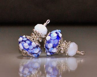 2 Mixed Blue & White Raised Flowers Lampwork Glass Bead Dangles or Earrings-Handmade Bead Dangles 16mm Murano Lampwork Rondelle Glass Beads