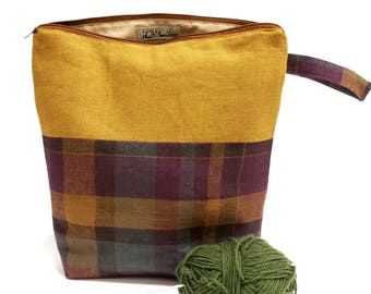 Checked Rustic Large Yellow Ochre Knitting Project Bag- Big Yarn Organizing Case- Zippered Crochet Pouch- Sock Sack Tote/ Organizer/ Storage